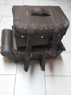 Custom Snaps For Brown Leather motorcycle Saddle Bag