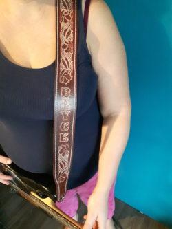 Custom made leather guitar strap