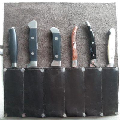 Custom made knife sheath case with slots dark brown
